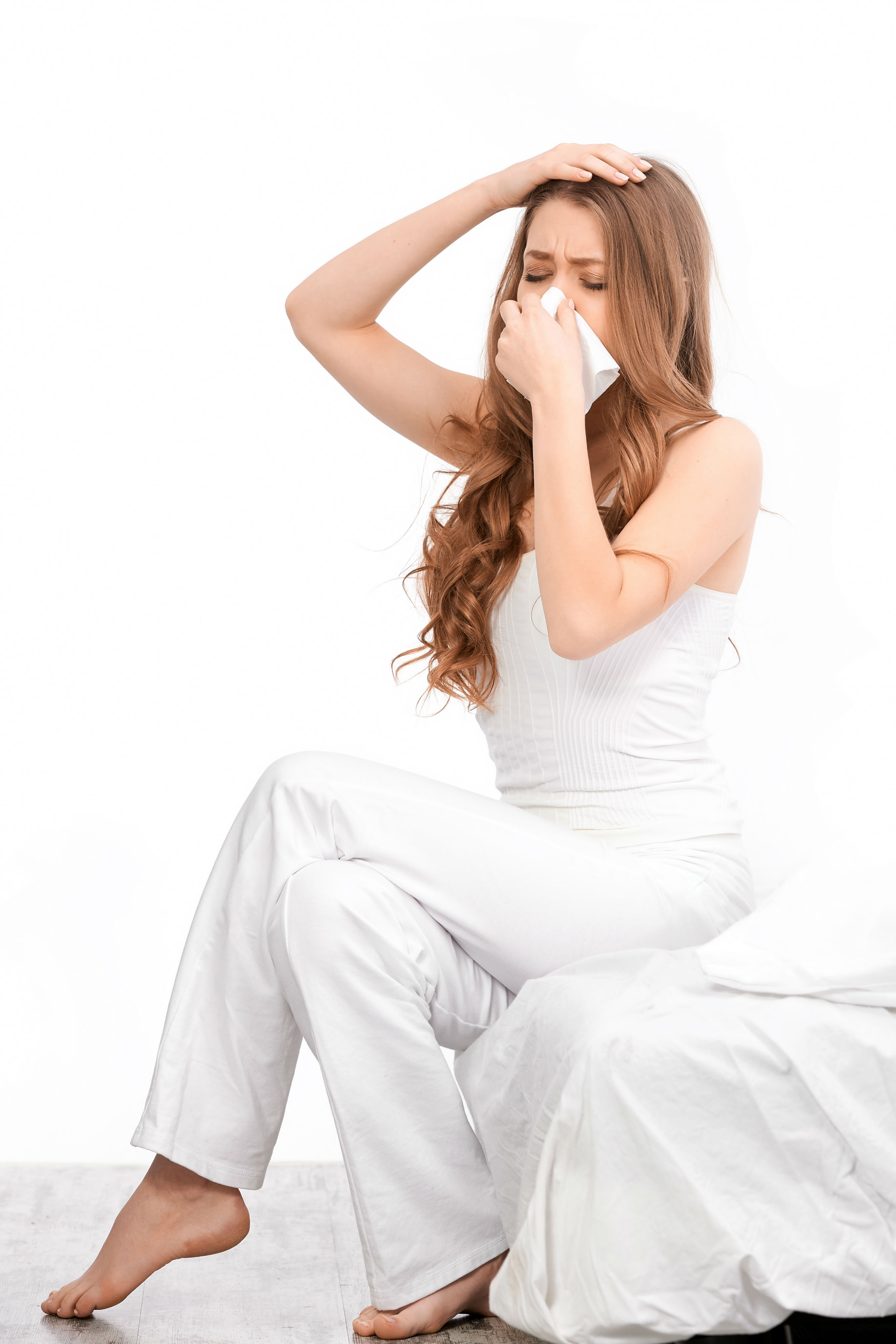 Woman Sneezing Allergies