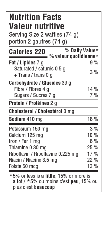 Blueberry Waffle Nutritional Facts Table