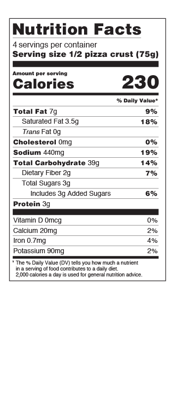 Pizza US Nutritional Facts