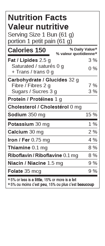 Cdn Hamburger Buns Nutritional Facts Table