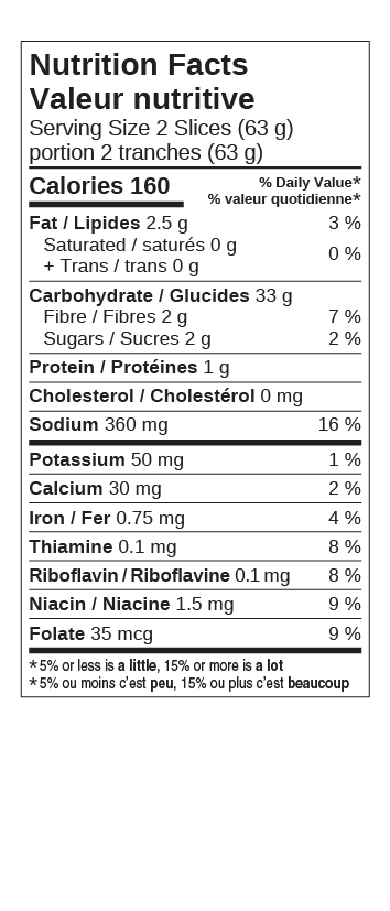 Cdn Whole Grain Bread Nutritional Facts