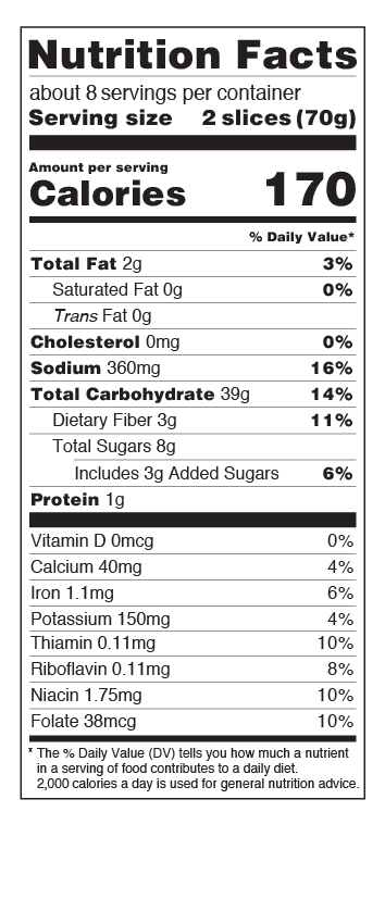 US Cinnamon Raisin Bread Nutritional Facts Table