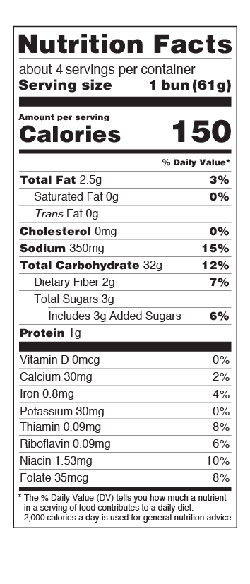 US Hamburger Buns Nutritional Facts Table