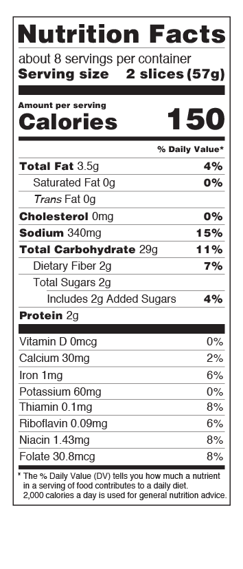 US Multigrain Bread Nutritional Facts Panel