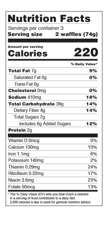 Nutritional Facts Blueberry Waffles US