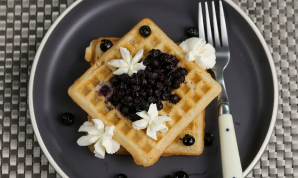 Blueberry Waffles with Blueberry Compote