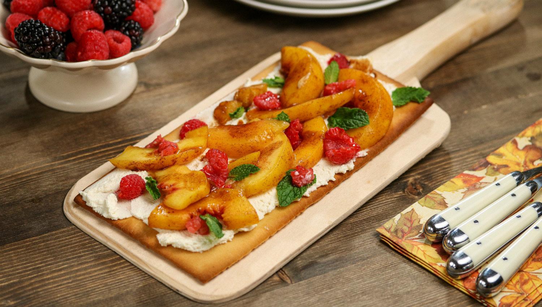 Peaches and Mascarpone Cheese Flatbread
